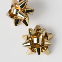 Christmas Bow Studs In Gold