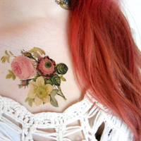 Large vintage Flower temporary tattoo - Body art , Colourful, Tattoo, Woodland, Accessories