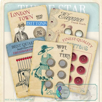 Button Cards Collage Sheet, Vintage Buttons, Product Cards, Printable Stationery, Paper Craft Supply, Instant Download - VBC #1