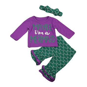 Toddler Kids Baby Girl Mermaid T-Shirt Tops Long Pants Baby Girl Clothes  New Arrival Outfits Set Clothes