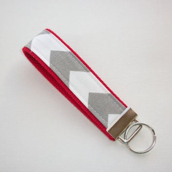 Chevron Key FOB / KeyChain / Wristlet - Gray and white on red - Zig Zag zigzag