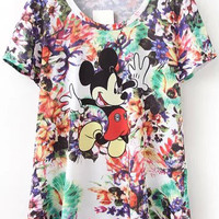 Floral Mickey Print Short Sleeve T-shirt