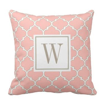 Girly Coral Modern Moroccan Quatrefoil Monogram Throw Pillow