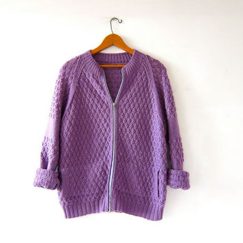 Vintage purple cardigan sweater. Hand woven sweater. Popcorn knit sweater. Sweater with pockets.