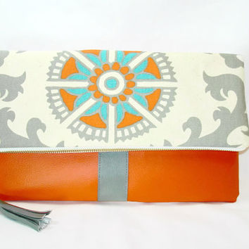Orange Fold Over Vegan Leather Clutch Medallion Print Fold Over Clutch Purse Orange Gray Clutch Flap Over Vegan Leather Clutch