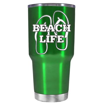 The Beach Life Sandals on Translucent Green 30 oz Tumbler Cup