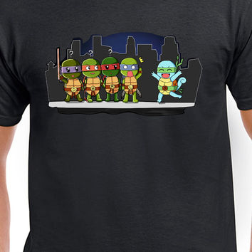 Ninja Turtles and Squirtle funny T-Shirt, Ninja Turtles Funny Tee, Ninja Turtles Squirtle Chibi