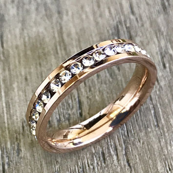 Rose Gold plated stainless steel CZ ring, Stacking Ring, Eternity Band, Women's Stainless Steel Ring, CZ Inlay Ring, Mothers Day Gift