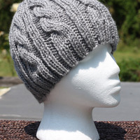 Hand Knit Womens Hat - Cable Beanie in Gray Heather - Back To School Fall Fashion Autumn Fashion