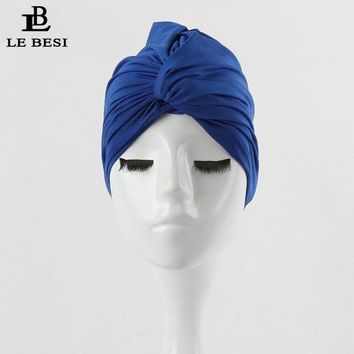 DCCK7N3 LEBESI 2017 Sexy Binder Beach Quick Dry Pleated knot Swimming Cap For Women Girls Solid Color Elastic Bathing Hat Swimming Pool