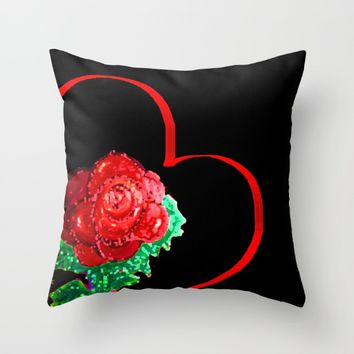 Heart of Rose Throw Pillow by ES Creative Designs