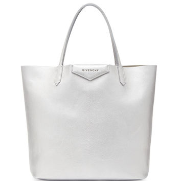 Antigona Medium Leather Shopping Tote, Silver - Givenchy