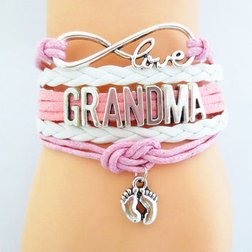 Infinity Love Grandma Football Sports Team Bracelet pink white Customize Sport friendship Bracelets