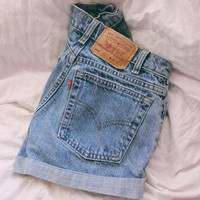 ALL SIZES Vintage Levis High Waisted Light Wash Cuffed Denim Shorts