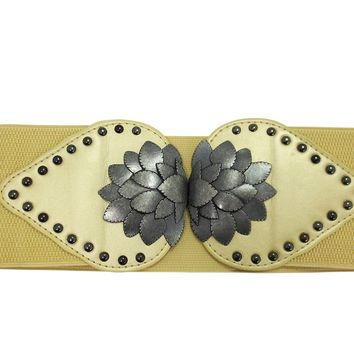 Vintage Rockabilly Antique Metal Leaf w/ Studs Wide Stretch Band Elastic Belt