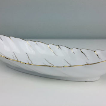 Noritake Morimura Celery Leaf Dish Red 'M' Mark, Noritake Gold White Porcelain Dish, Gold White Home Decor, Gold White Noritake Deco Period