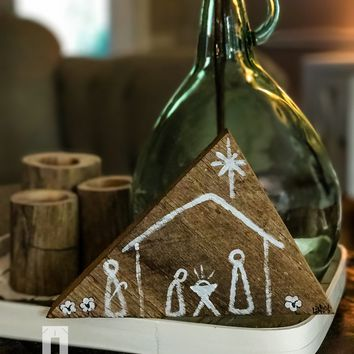 Hand Painted Nativity Scene on Reclaimed Wood for Christmas