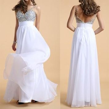 White Patchwork Backless Sequin V-neck Prom Evening Party Club High Waisted Maxi Dress