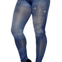 Blue Faux Denim Jean Butterfly Artwork Leggings Design 374