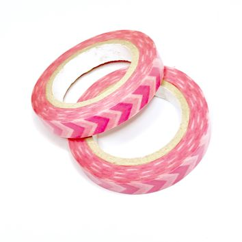 Hot pink chevron 9mm washi tape / 5M