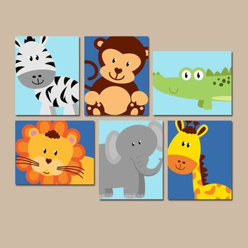 JUNGLE Animal Wall Art, Canvas or Prints, Baby Boy Nursery Decor, Safari Zoo Animals, Zebra Monkey Elephant Lion, PLAYROOM Decor, Set of 6