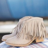 No Limits Fringe Suede Booties (Taupe)