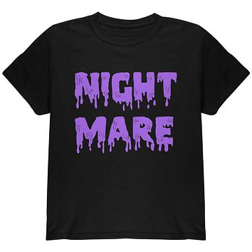 Halloween Nightmare Horror Purple Dripping Text Youth T Shirt