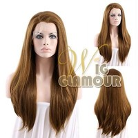 "Long Straight 24"" Light Chestnut Brown Lace Front Wig Heat Resistant"