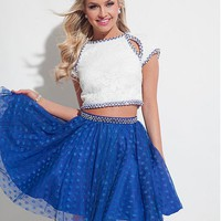 [99.99] Attractive Lace & Polka Dot Tulle Jewel Neckline Two-piece A-Line Homecoming Dresses With Beads - dressilyme.com