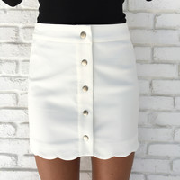 Beyond The Waves Scallop Skirt In White