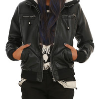 Faux Leather Sherpa Hooded Jacket