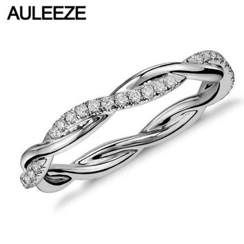 14KT White Gold Lab Grown Diamond Ring Twist Wedding Band