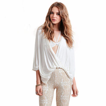 White Cross Deep V-Neck Bat Sleeves Loose Blouse