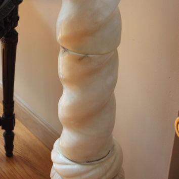 Antique Italian Carved White Marble Pedestal