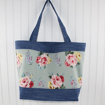 Denim and Green Vintage Floral Large Tote Bag, Farmers Market Bag, Fold Up Grocery Bag, Denim Tote Bag, MK119