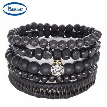 Men Bracelets Onyx Lava Stones Antique Silver Plated Lion Charm Leather Beaded Bangles Women's Fashion Jewelry