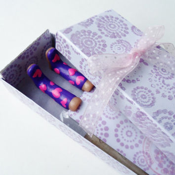 Purple Rainboot Bookmark - with Pink Hearts - Birthday, Get Well Gifts - Fun and Unique Bookmarks