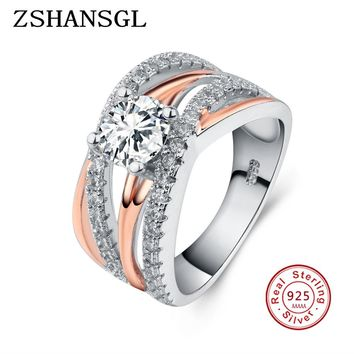 New Hot Wedding Band Jewelry 925 Sterling Silver AAA+ Austrian Crystal Weave Stylish Rings For Woman Girls with rose gold color