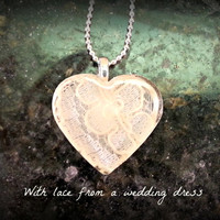 Memorial or Keepsake Jewelry -Custom Resin Heart Pendant Necklace made from your fabric, lace -  Baptism, Wedding, Bridal Party, Anniversary