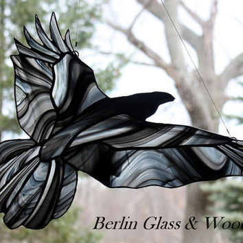 Stained Glass Raven, Raven Suncatcher, Gothic, Crow, Stained Glass Window Panel