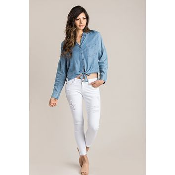 Natasha Denim Tie Front Top