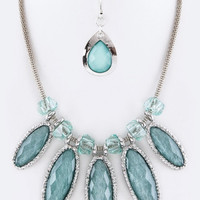 Blue Crystal & Bead Statement Necklace Set
