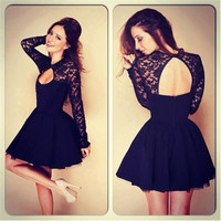 Women Lace Dresses Black O-neck Backless Hollow Clubwear Party Cocktail FH