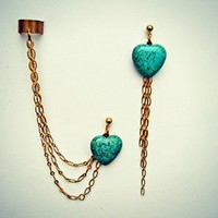 alapop — turquoise heart ear cuff earrings