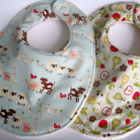 Baby Bib Set (2) - Boy or Girl -Fruit & Veggies, Farm Animals - Triple Layer  Bibs, Minky Bib, Bib with Velcro