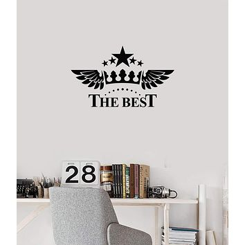 Vinyl Wall Decal The Best Crown Wings Above Bed Bedroom Living Room Stickers Mural (ig5875)