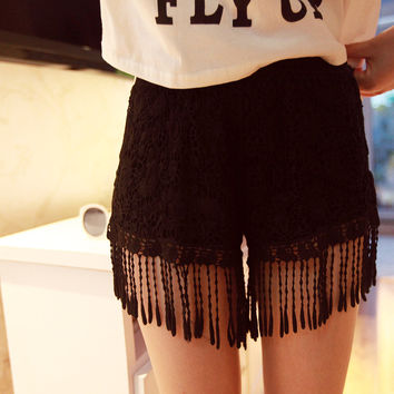 Floral Lace Crochet Tailored Elastic Waist Straight Shorts with Tassel Hem