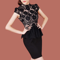 Short Sleeve Peplum Dress