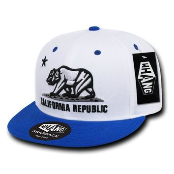 California Republic Cali State Bear Flag Snapback Hat White Royal Blue by Whang