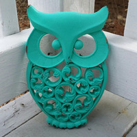 Turquoise Owl Wall Decor Hand Painted And Hand Distressed.